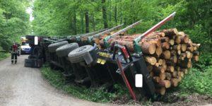 Umgestürzter Holztransporter
